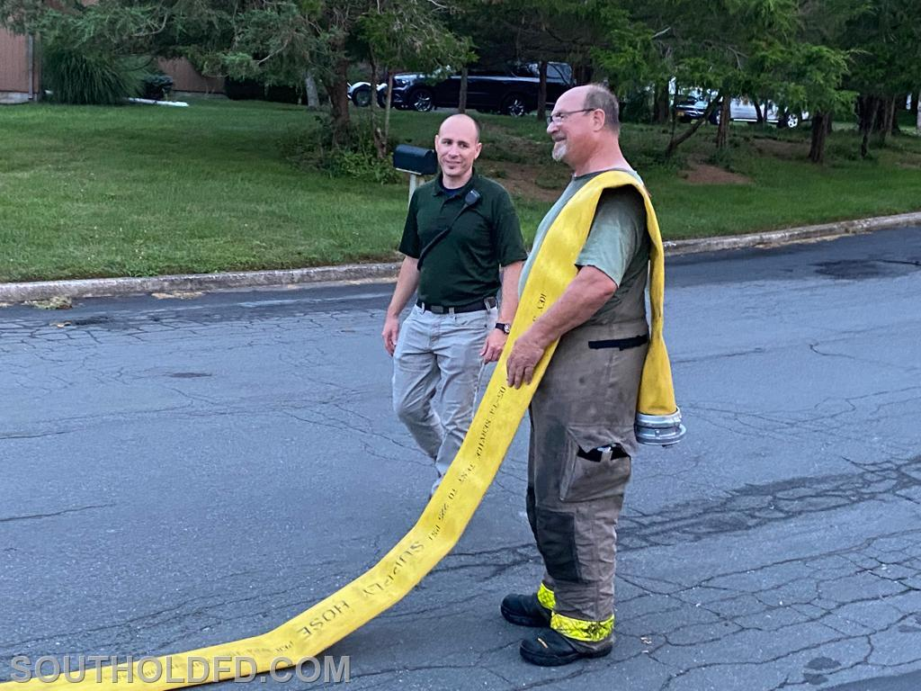 Training Officer John Rumpler and Protection Company 2nd Lt. Steve Geehreng supervise progress and wrap it up.